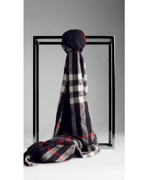 Burberry Cashmere & Wool Blend Navy Check scarf