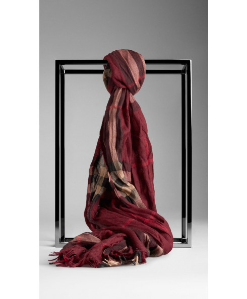 Burberry Cashmere & Wool Blend Claret Check scarf