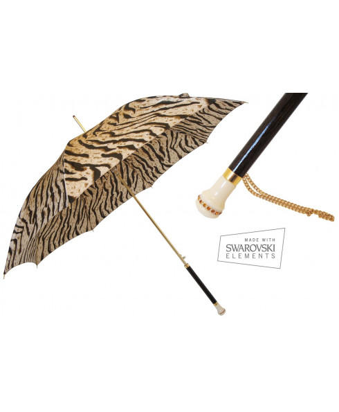 Pasotti Tiger Umbrella with Swarovski Handle