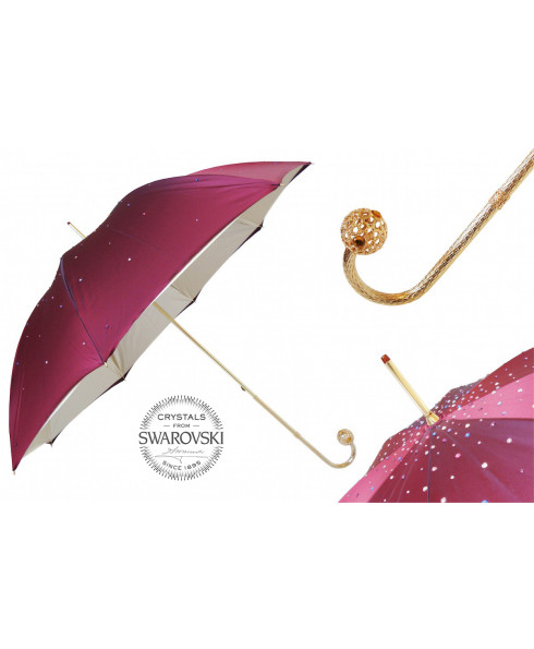 Pasotti Burgundy Swarovski® Umbrella, Double Cloth