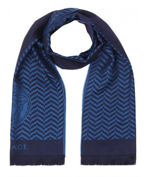 Versace Collection 100% Wool Scarf – Blue