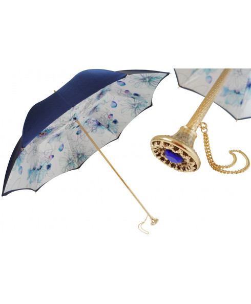 Pasotti Luxury Flowered Print Umbrella, Double Cloth
