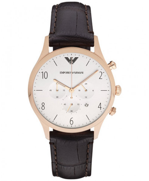 Emporio Armani Brown Leather Strap Watch - Brown/Gold