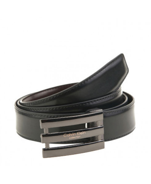 Calvin Klein 100% Leather Belt with cut-out buckle - Black