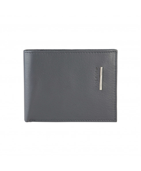 AZZARO 100% leather Men's Wallet Grey Glam