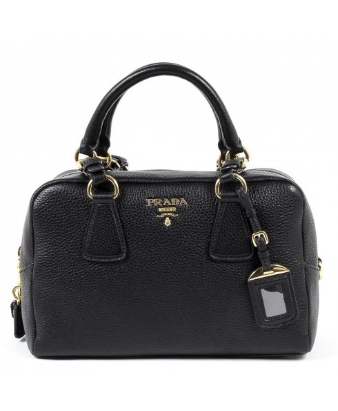 Prada Vitello Daino Handbag - Black