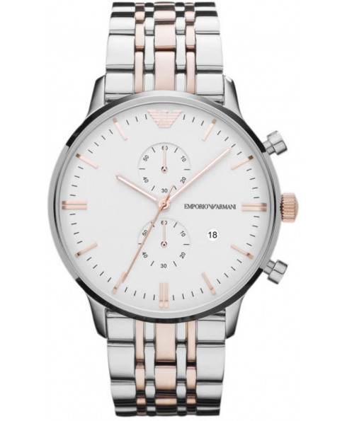 Emporio Armani Classic Unisex Watch - Silver and Rose Gold