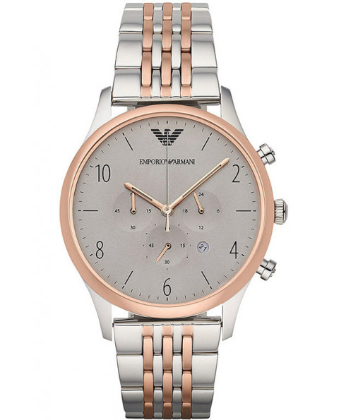 Emporio Armani Rose Gold and Stainless Steel Watch - Silver/Rose