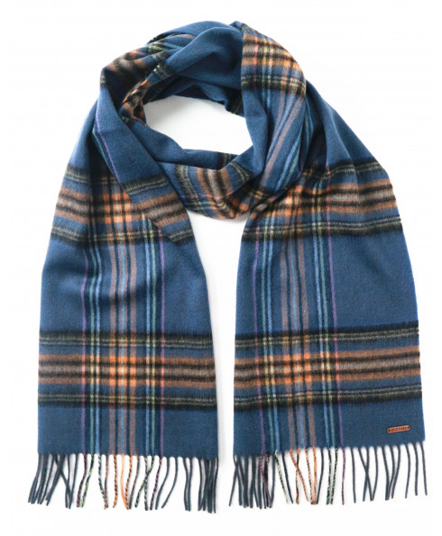 Hortons England 100% Lambswool 'Hexham' Scarf - Navy Check
