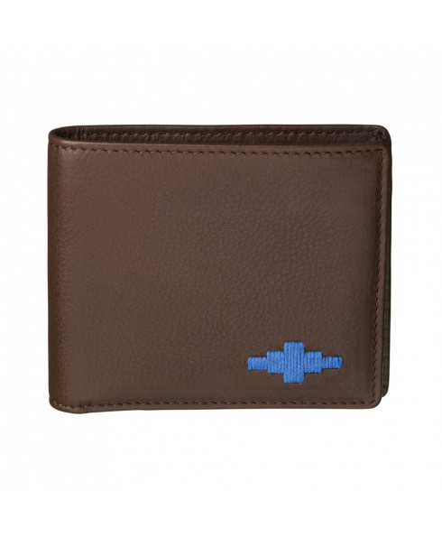 Pampeano 100% Leather Dinero Men's Card Wallet – Brown with Blue Diamond