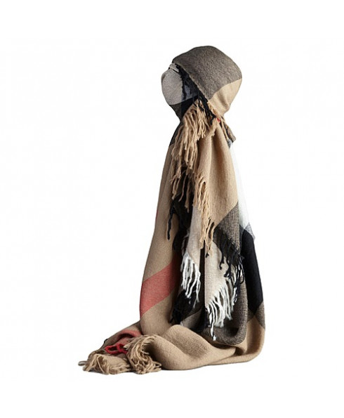 Burberry Brown wool shawl House Check scarf