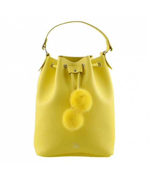 Grafea 'Cherie' 100% Leather Bucket Bag with Matching Pom Poms - Yellow