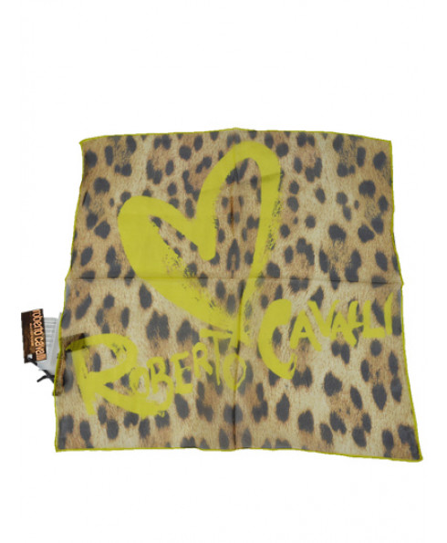 Roberto Cavalli Women 100% Silk Signature Scarf - Yellow
