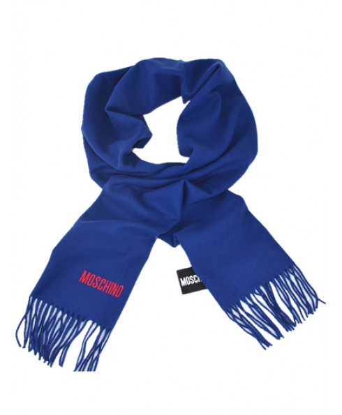 MOSCHINO 100% Wool Long Scarf - Royal Blue