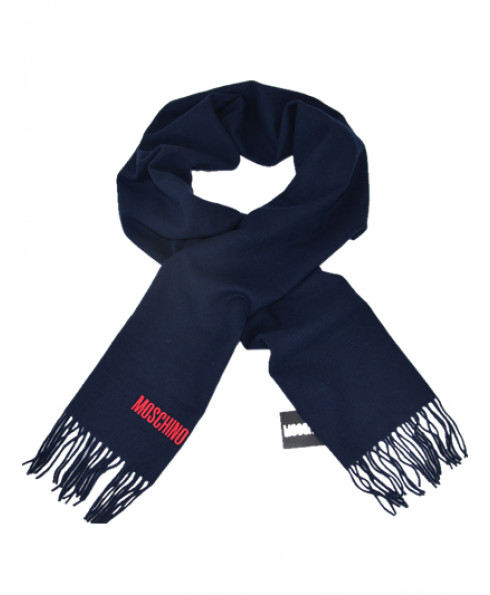 MOSCHINO 100% Wool Long Scarf - Navy Blue