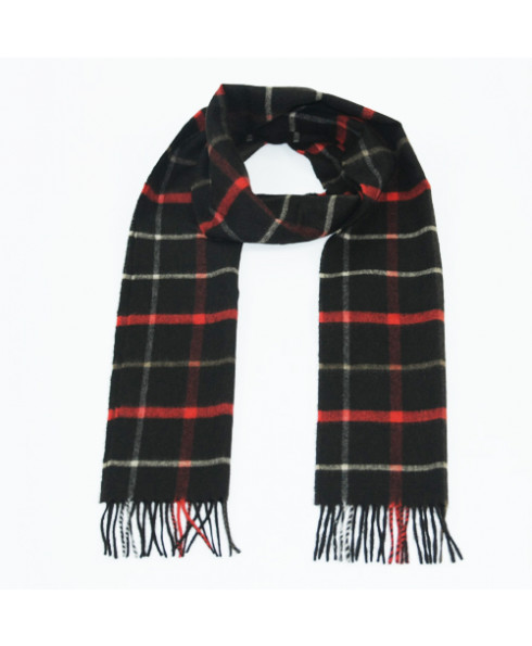 Glencroft 100% Cashmere Premium Plaid Scarf in Black Red and Stone