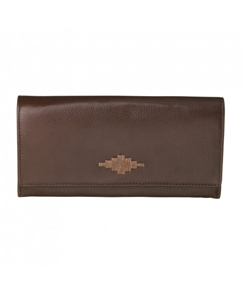Pampeano 100% Leather Chica Continental Women Purse – Brown with Brown Diamond