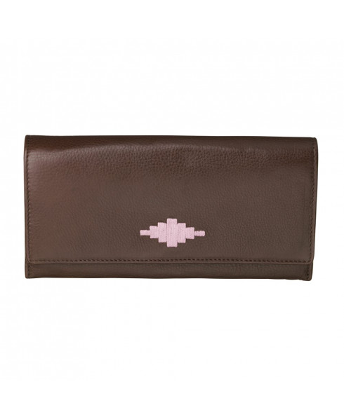 Pampeano 100% Leather Chica Continental Women Purse – Brown with Pink Diamond