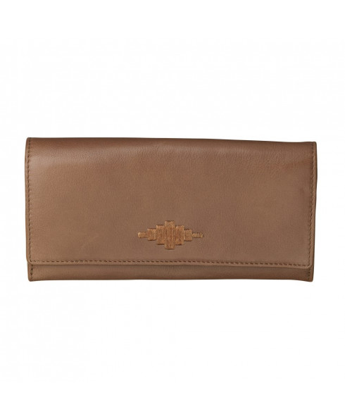 Pampeano 100% Leather Chica Continental Purse – Tan with Tan Diamond