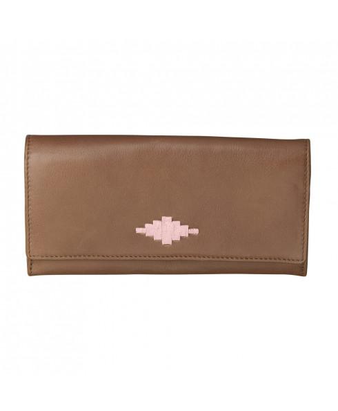 Pampeano 100% Leather Chica Continental Women Purse – Tan with Pink Diamond