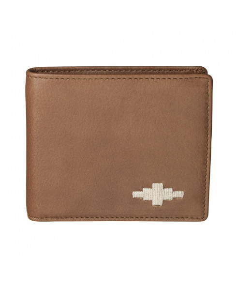 Pampeano 100% Leather Dinero Card Men's Wallet – Tan with Cream Diamond