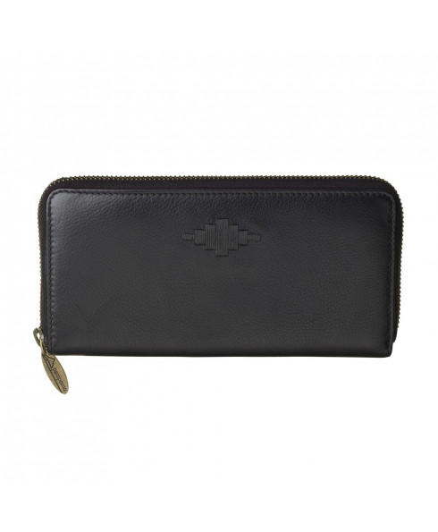 Pampeano 100% Leather Rico Zipped Women Purse – Black with Black Diamond