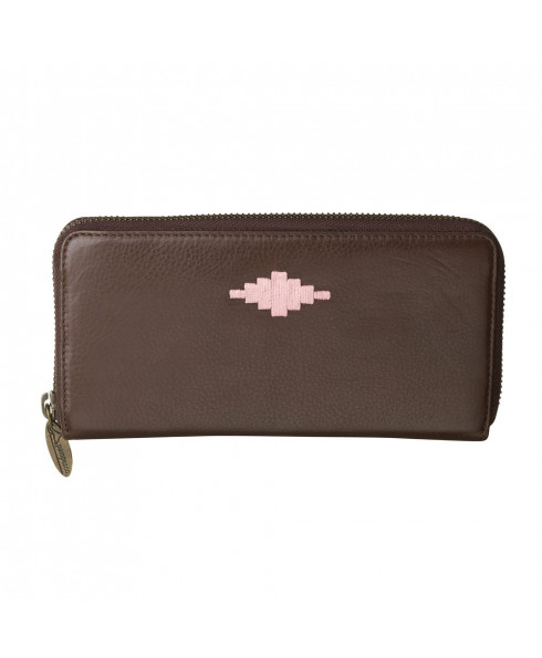 Pampeano 100% Leather Rico Zipped Women Purse – Brown with Pink Diamond