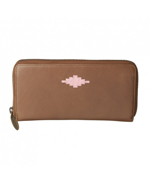 Pampeano 100% Leather Rico Zipped Women Purse – Tan with Pink Diamond