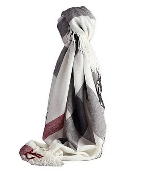 Burberry Brown wool shawl Ivory Check scarf