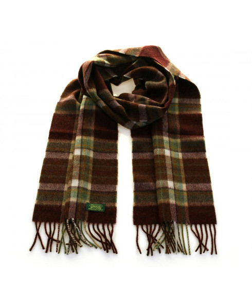 Glencroft 100% Premium Cashmere Scarf - Brown and Green Plaid