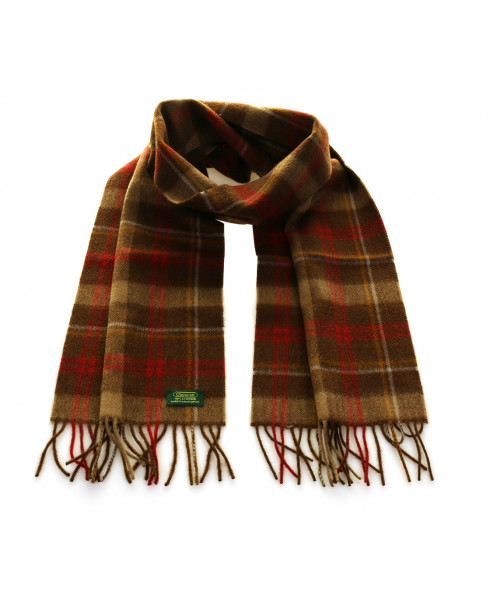 Glencroft 100% Cashmere Premium Scarf - CR Chocolate / Red Plaid