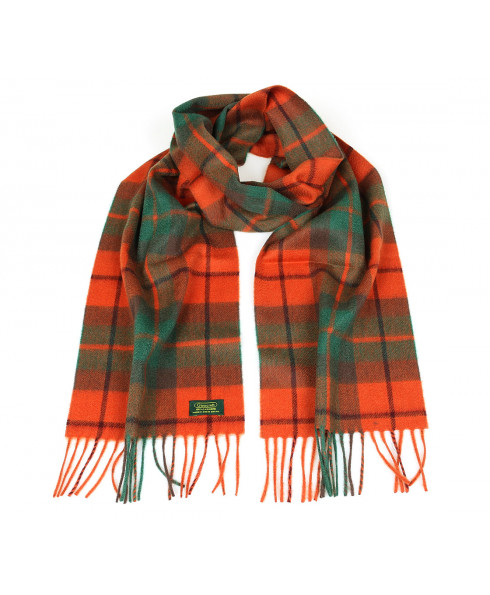 Glencroft 100% Cashmere Premium Scarf - Orange and Green Check
