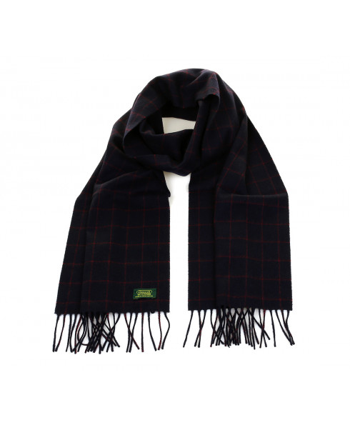 Glencroft 100% Cashmere Premium Scarf - Navy/Red Check
