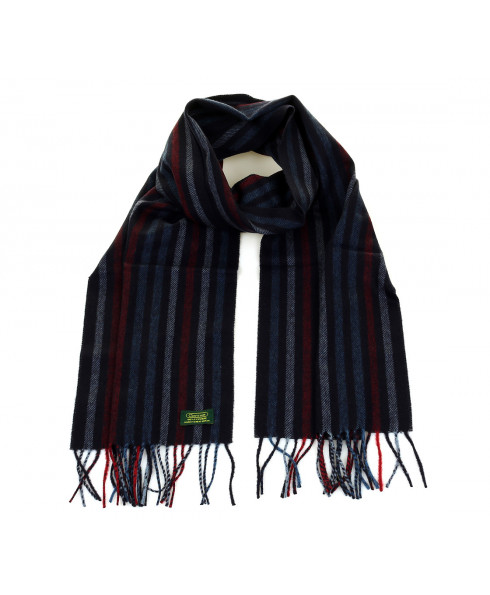 Glencroft 100% Cashmere Premium Scarf - Navy and Red Stripe