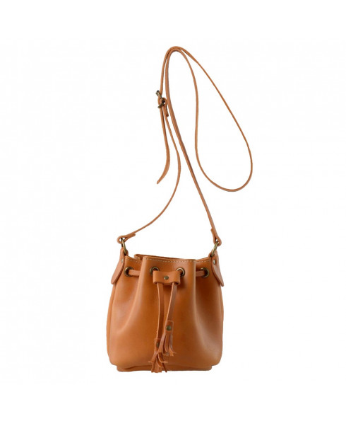 Grafea 100% Leather Mini Bucket bag - Tan
