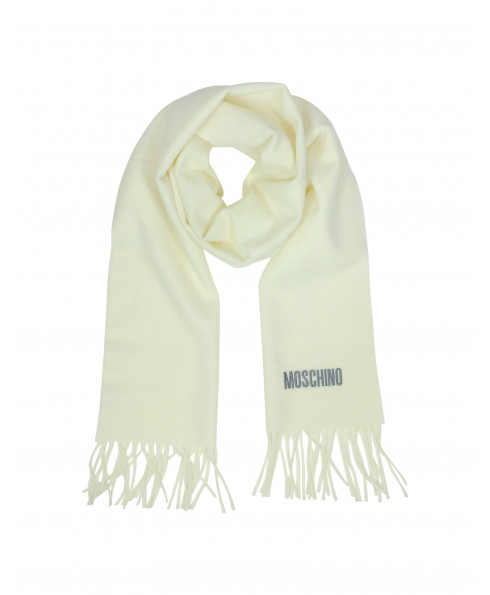 MOSCHINO 100% Wool Long Scarf - Cream