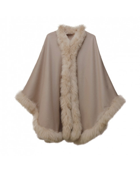 Pampeano Alpaca Fur Trimmed Cape - Dark Taupe