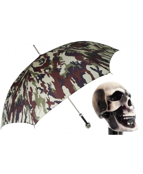 Pasotti Camouflage Print Luxury Umbrella with Skull Handle