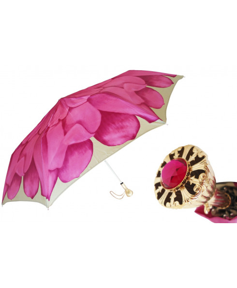 Pasotti Women Pink Dahlia Folding Umbrella