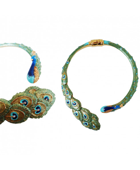 Pasotti Luxury Peacock Necklace - Blue/Green