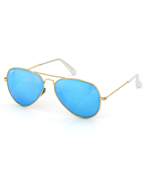 Ray-Ban Aviator Sunglasses in Blue with Gold Lenses - Size 55