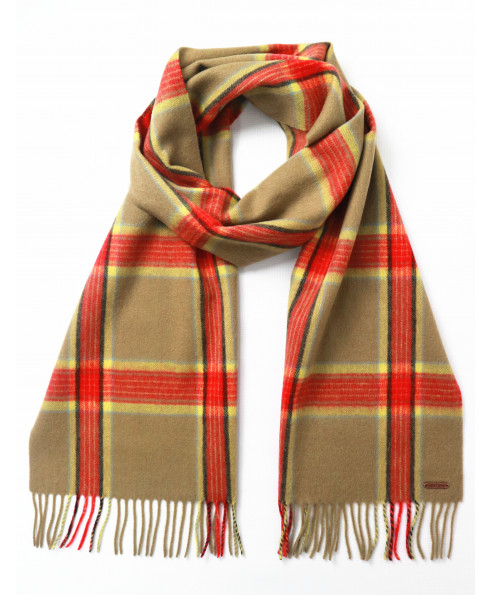 Hortons England 100% Lambswool 'Hexham' Scarf - Red Check