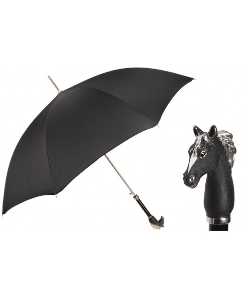 Pasotti Umbrella for Men Black Horse Umbrella