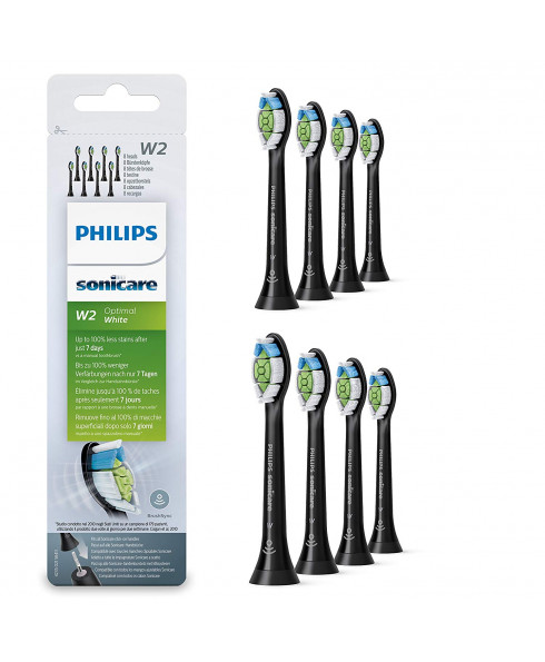 Philips Sonicare Optimal White BrushSync Enabled Replacement brush Heads, 8pk, Black - HX6068/13