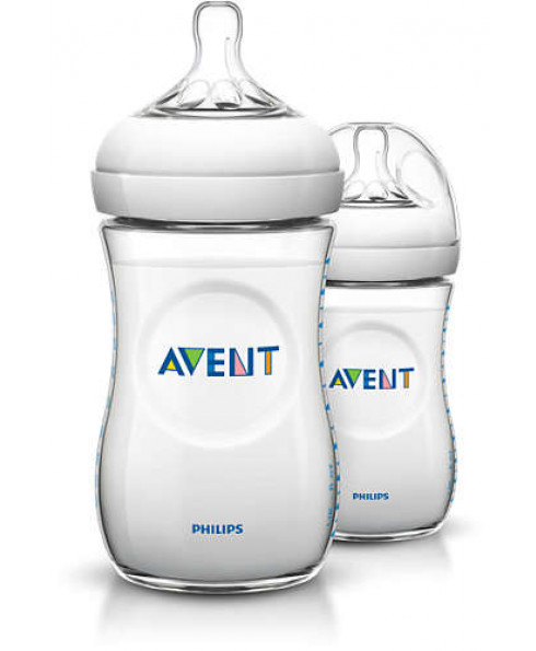 Philips Avent Natural 9oz Baby Bottle Two Pack - Clear