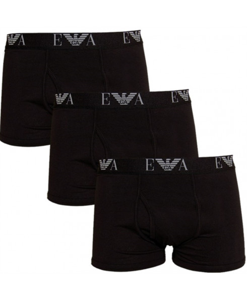 Emporio Armani Mens Boxer Shorts Pack of 3 - Black with Black Elastic