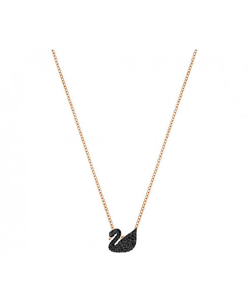Swarovski Small Iconic Swan Pendant, Black, Rose Gold Plating