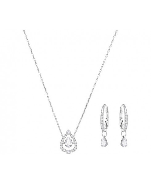 Swarovski Sparkling Dance Pear Necklace and Earring Set - Silver