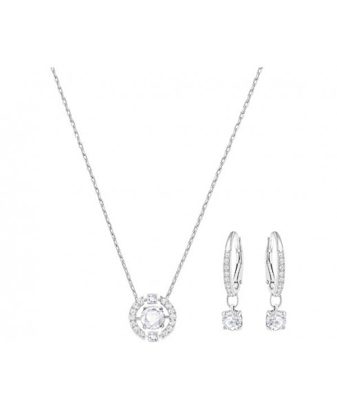 Swarovski Sparkling Dance Round Necklace and Earring Set - Silver
