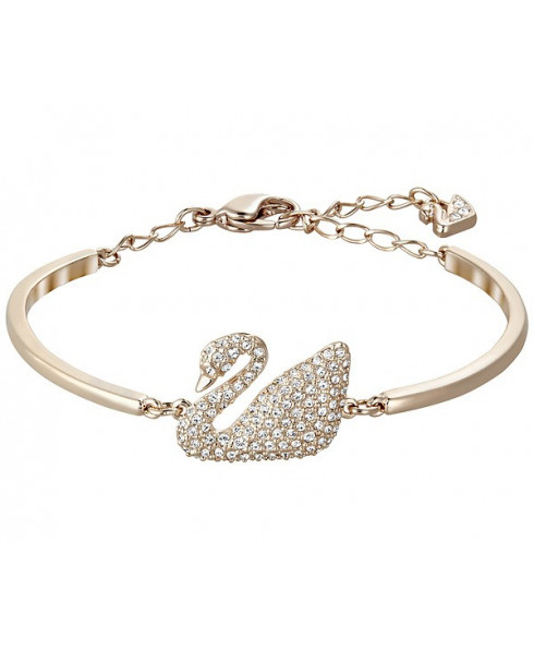 Swarovski Swan Bangle, White, Rose Gold Plating